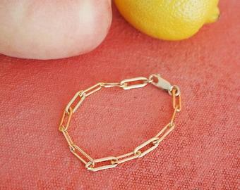 14k Gold Filled Paperclip 15mm Chain Bracelet | Thick | Real Gold Bracelet