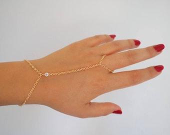 14k Gold Filled & 14k SOLID GOLD White Topaz Dainty Hand Piece | VERSION 2.0 | Real Gold Bracelet