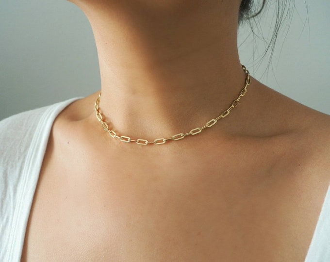 14k Gold Filled Small Paperclip Chain Choker Necklace | Thick