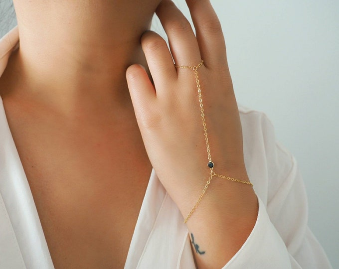 14k Gold Filled with 14k Solid Gold SPINEL Dainty Hand Piece | Real Gold Bracelet