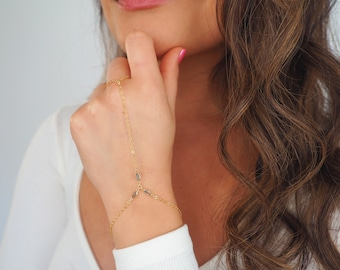14k Gold Filled with 14k Solid Gold Labradorite Triple Marquise Hand Piece