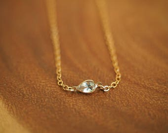 14k Gold Filled with 14k Solid Gold White Topaz Dainty Anklet | Real Gold Jewelry