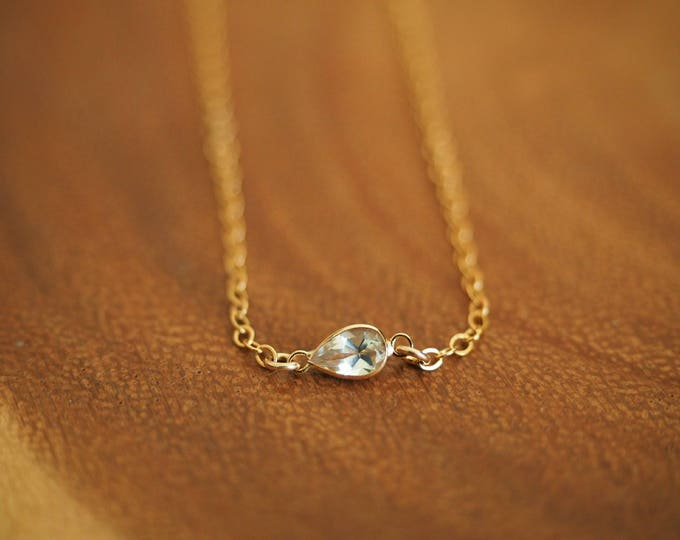 14k Gold Filled with 14k Solid Gold White Topaz Dainty Anklet   Real Gold Jewelry