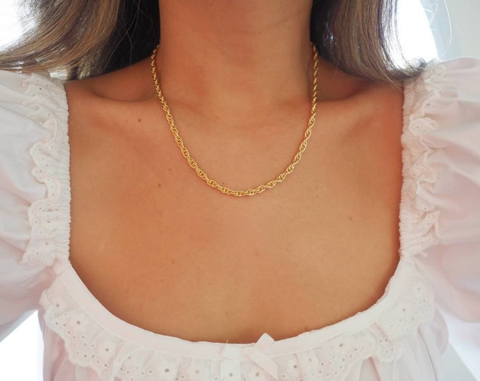 14k Gold Filled Braided Rope Chain Necklace | Thick