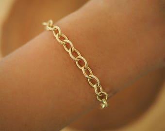 14k Gold Filled TEXTURED 7mm Chunky Chain Bracelet | Real Gold Bracelet