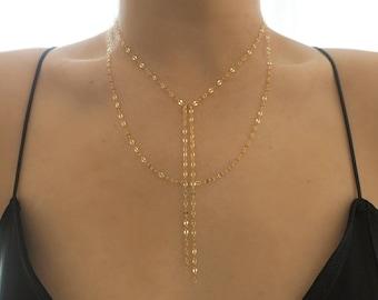 14k Gold Sparkle Chain Tassel Lariat Necklace & Layer Necklace