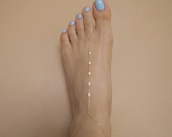 14k Gold Filled 5 Swarovski Crystals Dainty Anklet Foot Piece | | Real Gold Jewelry
