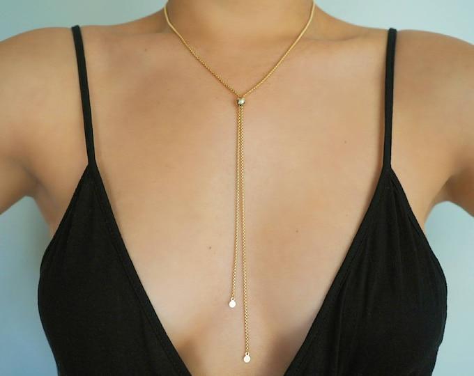 14k Gold Filled Snake Chain Adjustable Lariat Y Necklace/ Gold Filled Jewelry/ Real Gold Jewelry/ / Tassel Necklace