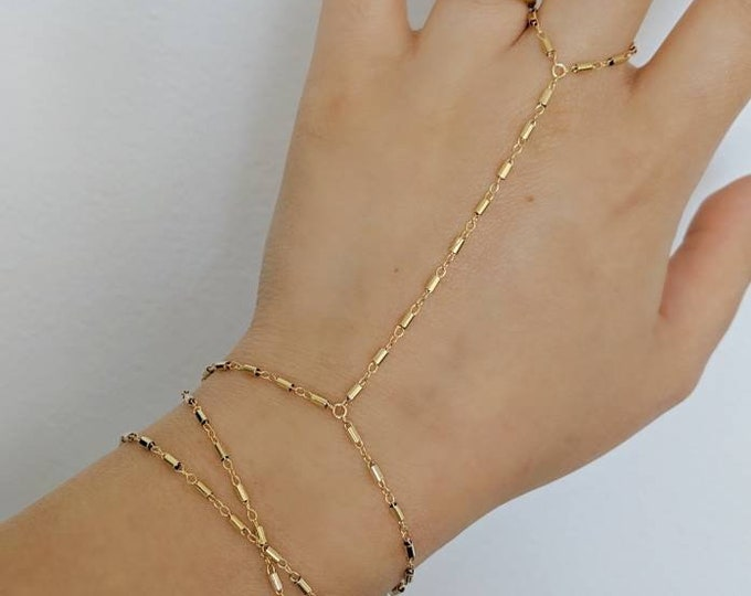 14k Gold Filled Bohemian Wrap Hand Piece Bracelet | Real Gold Bracelet