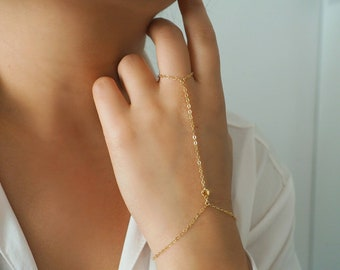 14k Gold Filled with 14k Solid Gold CITRINE Dainty Hand Piece   Real Gold Bracelet