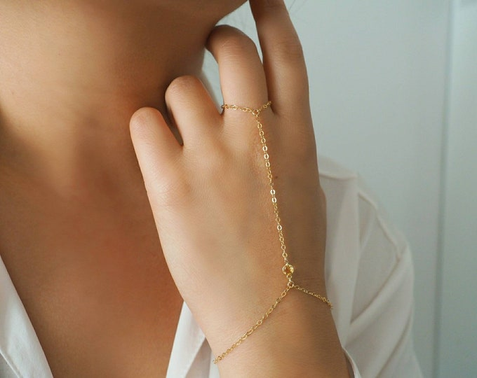 14k Gold Filled with 14k Solid Gold CITRINE Dainty Hand Piece | Real Gold Bracelet