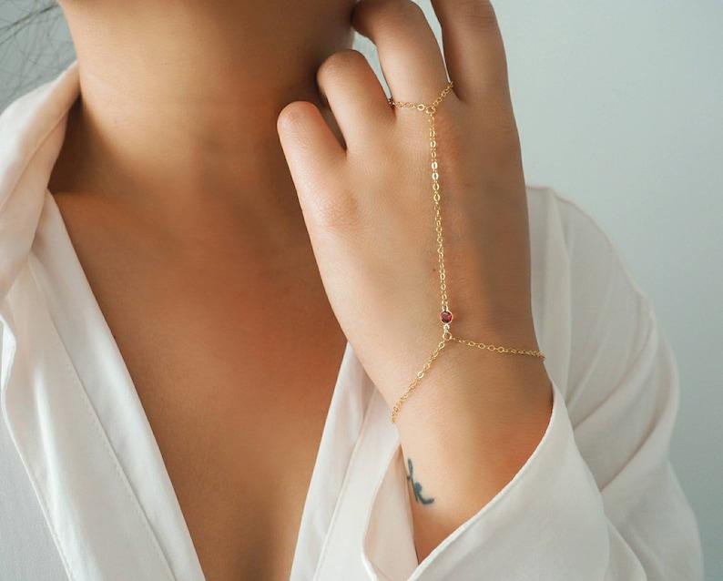 14k Gold Filled GARNET Dainty Hand Piece Real Gold Bracelet