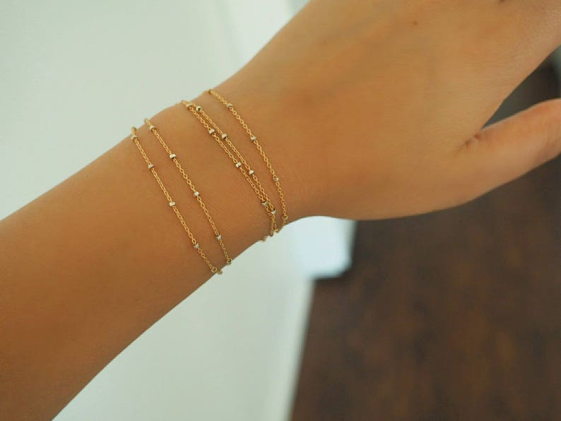 14k GOLD Speckled Chain Multi Way Bracelet /& Necklace  Dainty Bracelet Real Gold Jewelry Real Gold Bracelet Wrap Bracelet