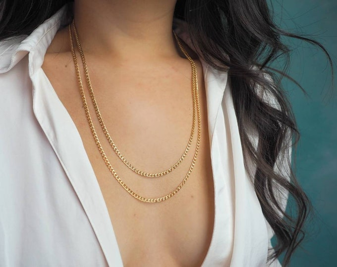 14k Gold Filled Slick Curb Chain Necklace | Smooth | Long