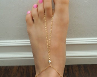 14k Gold Filled with CZ Diamond Dainty Foot Piece Anklet | Real Gold Jewelry