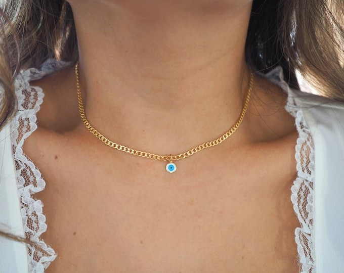 14k Gold Filled with 14k Solid Gold Round Evil Eye Charm Necklace | Flat Slick Curb Chain | Real Gold Jewelry