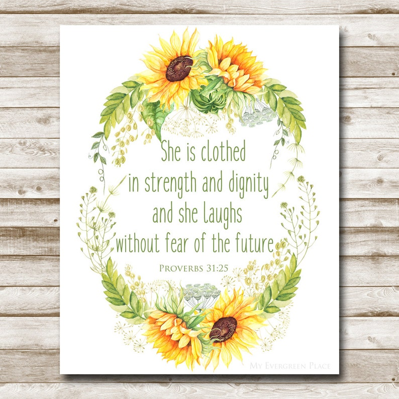 photo relating to Sunflower Printable named Sunflower Printable Proverbs 31:25 Bible Verse Print Dwelling Decor Childrens Wall Artwork Nursery Wall Artwork Bible Print 4x6 5x7 8x10 11x14 16x20