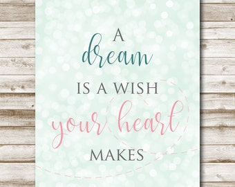 A Dream is a Wish Your Heart Makes Printable Mint Nursery Art Photography Prop Girls Room Decor 4x6 5x7 8x10 11x14 Cinderella Quote