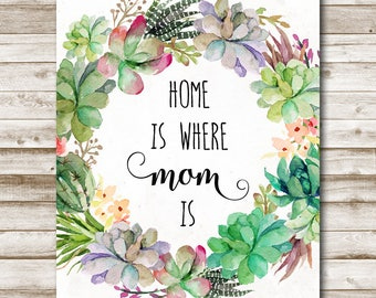 Home Is Where Mom Is Mother's Day Printable Gift For Mom Mother Day Quote Mother Mom Home Decor 5x7 8x10 11x14 Photography Prop
