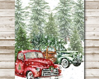 Bringing Home The Tree Printable Vintage Car Retro Truck Wall Art 5x7 8x10 11x14 16x20 Holiday Decor Watercolor Christmas Print Photo Prop