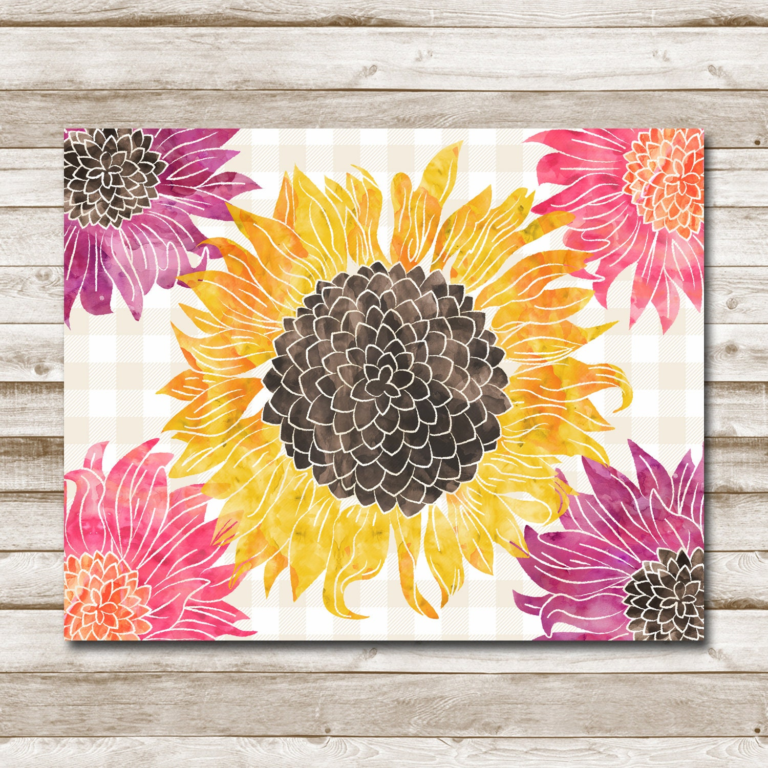 photograph regarding Sunflower Printable referred to as Sunflower Printable Watercolor Buffalo Plaid Floral Print Dwelling Decor Office environment Decor Sunflower Nursery 5x7 8x10 11x14 16x20 Staging Decor