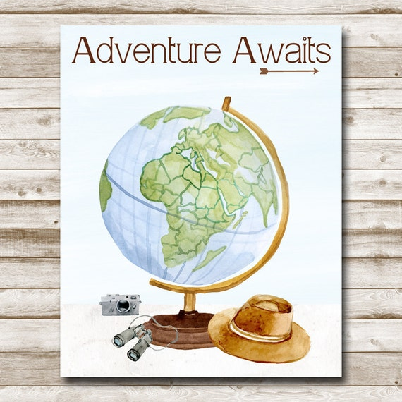 photo about Printable Globe named Journey Awaits Printable Entire world Print Childrens Wall Artwork Teenager Decor Drive Print Watercolor 5x7 8x10 11x14 16x20 Images Prop