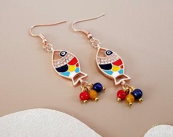 Gold Fish Earrings, Animal Jewelry, Evil Eye Earrings, Rose Gold Dangle, Lucky Nautical Earrings, Ocean Beach Jewelry, Birthday Gift For Her