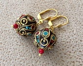 Boho Ball Earrings, Tribal Jewelry, Dangle Leverback, Gypsy Earrings, Ethnic Tibetan Jewelry, Ornate Earrings, Oriental Dangle, Unique Gift