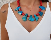 Boho Raw Stone Necklace, Statement Coral Jewelry, Southwest Necklace, Turquoise Chunky Necklace, Oversized Jewelry, Unique Birthday Gift Her
