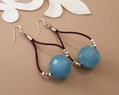 Blue Quartz Earrings, Leather Hoop Earrings, Blue Crystal Jewelry, Agate Dangle, Leather Loop Dangle, Hoop Ball Earring, Bead Leather Dangle