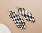 Checkerboard Seed Bead Earrings, Monochrome Checker Fringe Earrings, Black White Jewelry, Chequer Tassel Earrings, Birthday Gift Girlfriend