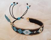 Tribal Cuff Bracelet, Ethnic Hippie Jewelry, Boho Feather Bracelet, Beaded Gypsy Bracelet, Bohemian Women Jewelry, Birthday Gift For Her