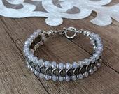 Boho Link Bracelet, Authentic Jewelry, Tribal Cuff Bracelet, Festival Charms Bracelet, Gypsy Bridesmaid Gift, Coin Jewelry, Best Friend Gift
