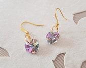 Heart Dangle Earrings, Crystal Heart Earrings, Swarovski Purple Jewelry, Violet Iridescent Earrings, Birthday Gift For Her, Anniversary Gift