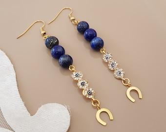 Lapis Lazuli Horseshoe Earrings, Long Blue Drop Dangle, Evil Eye Jewelry, Dainty Lucky Jewelry, Gemstone Gold Earrings, Birthday Gift Her