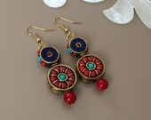 Gypsy Dangle Earrings, Oriental Jewelry, Boho Circle Dangling, Tibetan Jewelry, Ornate Earrings, Ethnic Coral Lapis Earring, Gift For Sister