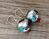 Bohemian Tribal Earrings, Tibetan Boho Jewelry, Coral Turquoise Gypsy Earrings, Christmas Gift Her, Ball Dangle Earring, Ethnic Boho Jewelry
