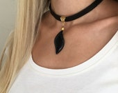 Black Choker Necklace, Onyx Pendant, Leather Choker, Anniversary Gift Her, Onyx Gemstone Jewelry, Genuine Leather Necklace, Birthday Gift