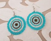 Beaded Disc Earrings, Statement Circle Earrings, Beadwork Boho Jewelry, Turquoise Seed Bead Dangle, Round Earrings, Women Accessory Gift Her