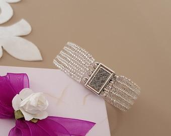 Beaded Silver Bracelet, Sparkly Jewelry, Seed Bead Bracelet, Bridesmaid Gift, Magnetic Clasp Bracelet, Wedding Jewelry, Herringbone Cuff