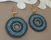 Beaded Circle Teal Earrings, Boho Blue Jewelry, Hoop Dangle, Seed Bead Round Earrings, Large Disc Earrings, Birthday Gift Sister, Gift Her
