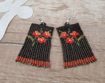 Seed bead tassel earrings, Earthy flower fringe earrings, Flowery nature dangle, Boho chic floral jewelry, Girlfriend birthday gift