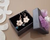 Evil Eye Earrings, Flower Power, Rose Gold Jewelry, Daisy Earrings, Flower Dangle Jewelry, Statement Earrings Gold, Birthday Gift For Her