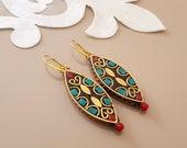 Mosaic Earrings, Boho Ethnic Jewelry, Tibetan Earring, Turquoise Coral Gypsy Jewelry, Brass Metal Earrings, Tribal Dangle, Birthday Gift Her