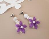 Moonstone Lace Flower Earrings, Floral Embroidery Florist Jewelry, Gemstone Stud Dangle, Boho Trending Earring, Turkish Oya Lace, Gift Her