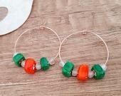 Square Glass Beaded Hoops, Multi Color Earrings, Colorful Geometric Jewelry, Boho Style Hoop Dangle, Birthday Gift Girlfriend, Self Gift