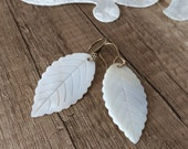 Dangle Nature Earrings, Leaf Earrings, Hawaii Jewelry, Shell Earrings, Unique Mother of Pearl,  White Dangling, Gift For Mom, Gift For Her