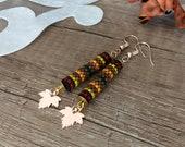 Sycamore Leaves Autumn Earrings, Seed Bead Tube Earrings, Rose Gold Dangle, Leaf Drop Earring, Fall Women Jewelry, Best Friend Birthday Gift