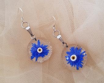 Blue Daisy Earrings, Terrarium Glass Earrings, Flower Power, Evil Eye Jewelry, Transparent Floral Dangle, Pressed Flower Earrings, Gift Her