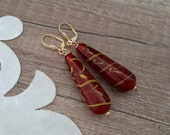 Teardrop Glass Earrings, Red Glass Jewelry, Long Dangle Earrings, Boho Lever Back Earrings, Elegant Dangle Drop, Christmas Unique Gift Her